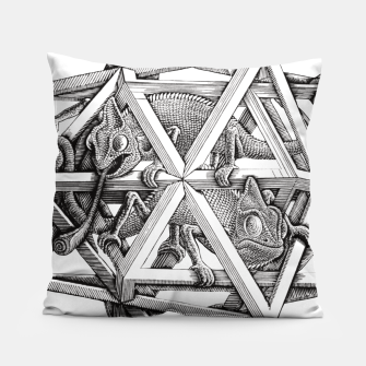 Thumbnail image of Fashion art and decor items of MC Escher Kaleidoscope Chameleon in a cage Pillow, Live Heroes