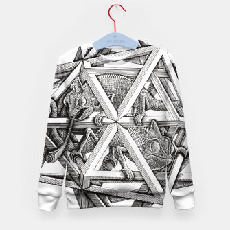Miniaturka Fashion art and decor items of MC Escher Kaleidoscope Chameleon in a cage Kid's sweater, Live Heroes
