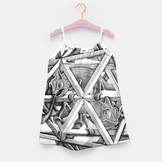 Thumbnail image of Fashion art and decor items of MC Escher Kaleidoscope Chameleon in a cage Girl's dress, Live Heroes
