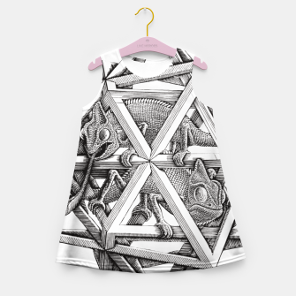 Thumbnail image of Fashion art and decor items of MC Escher Kaleidoscope Chameleon in a cage Girl's summer dress, Live Heroes