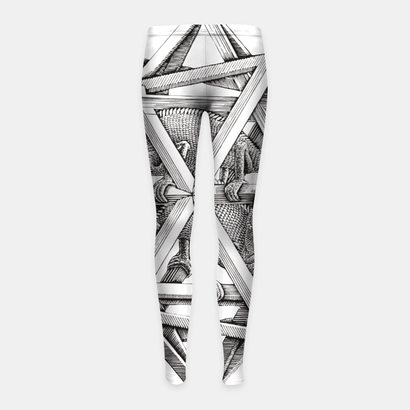 Zdjęcie Fashion art and decor items of MC Escher Kaleidoscope Chameleon in a cage Girl's leggings - Live Heroes