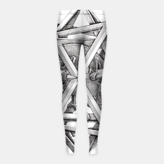 Thumbnail image of Fashion art and decor items of MC Escher Kaleidoscope Chameleon in a cage Girl's leggings, Live Heroes