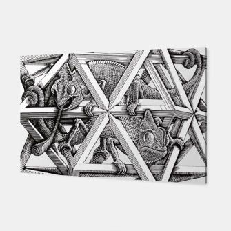 Thumbnail image of Fashion art and decor items of MC Escher Kaleidoscope Chameleon in a cage Canvas, Live Heroes