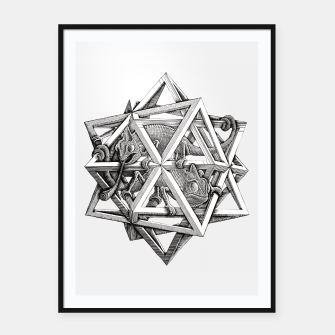 Thumbnail image of Fashion art and decor items of MC Escher Kaleidoscope Chameleon in a cage Framed poster, Live Heroes