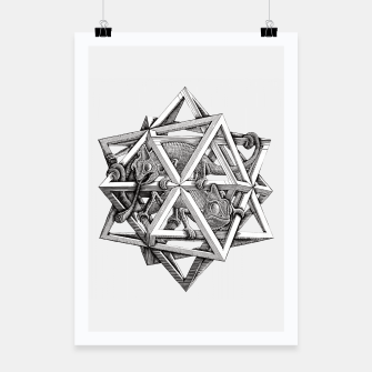 Thumbnail image of Fashion art and decor items of MC Escher Kaleidoscope Chameleon in a cage Poster, Live Heroes