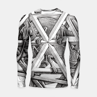 Thumbnail image of Fashion art and decor items of MC Escher Kaleidoscope Chameleon in a cage Longsleeve rashguard , Live Heroes
