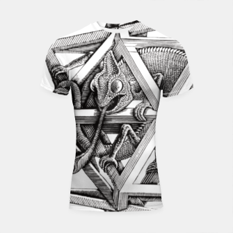 Thumbnail image of Fashion art and decor items of MC Escher Kaleidoscope Chameleon in a cage Shortsleeve rashguard, Live Heroes