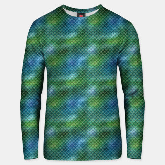 Miniatur Lime Green and Aqua Blue Mermaid Glitter Scales Unisex sweater, Live Heroes