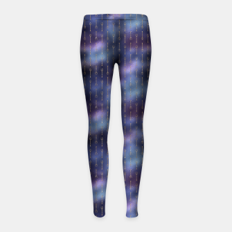 Thumbnail image of Purple Blue and Gold Mermaid Glitter Tridents Girl's leggings, Live Heroes