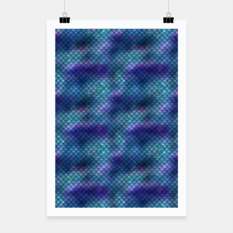 Miniatur Aqua Blue and Pink Mermaid Glitter Scales Poster, Live Heroes