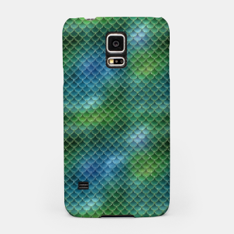 Miniatur Lime Green and Aqua Blue Mermaid Glitter Scales Samsung Case, Live Heroes