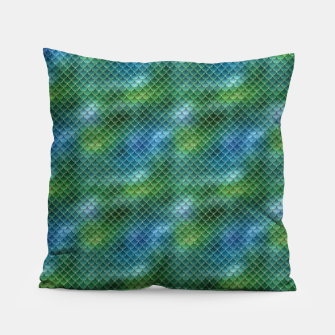 Miniatur Lime Green and Aqua Blue Mermaid Glitter Scales Pillow, Live Heroes