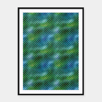 Miniatur Lime Green and Aqua Blue Mermaid Glitter Scales Framed poster, Live Heroes