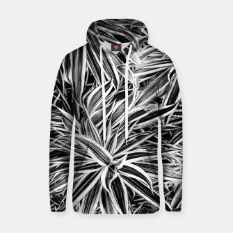 Thumbnail image of Black and White Tropical Print Hoodie, Live Heroes