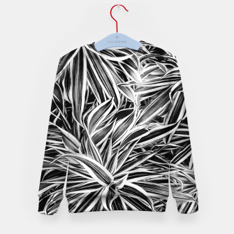 Thumbnail image of Black and White Tropical Print Kid's sweater, Live Heroes