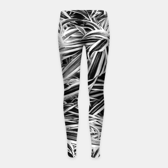 Thumbnail image of Black and White Tropical Print Girl's leggings, Live Heroes
