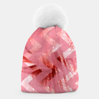 Thumbnail image of striped wavy pink glittered abstract digital pattern Beanie, Live Heroes