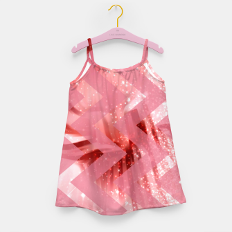 Thumbnail image of striped wavy pink glittered abstract digital pattern Girl's dress, Live Heroes