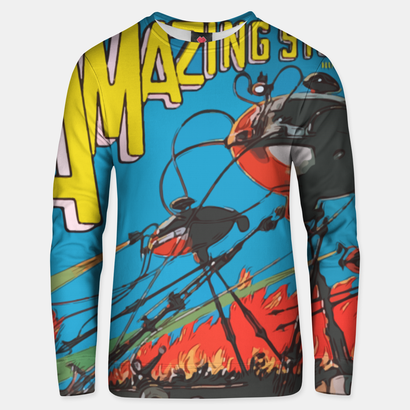 Image of Fashion art of Amazing Stories Comic Magazine with H.G. Wells Unisex sweater - Live Heroes