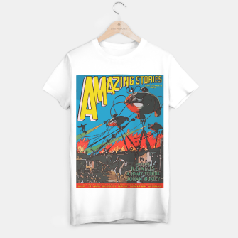 Miniatur Fashion art of Amazing Stories Comic Magazine with H.G. Wells T-shirt regular, Live Heroes