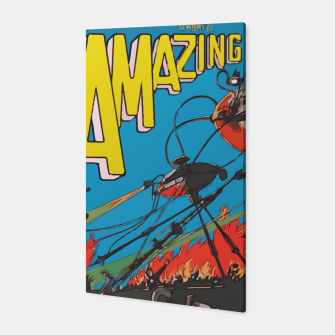 Miniaturka Fashion art of Amazing Stories Comic Magazine with H.G. Wells Canvas, Live Heroes