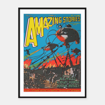 Miniatur Fashion art of Amazing Stories Comic Magazine with H.G. Wells Framed poster, Live Heroes