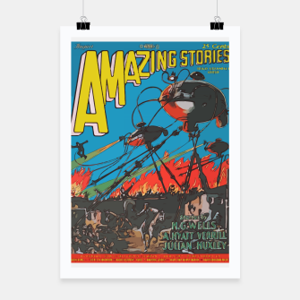 Miniaturka Fashion art of Amazing Stories Comic Magazine with H.G. Wells Poster, Live Heroes
