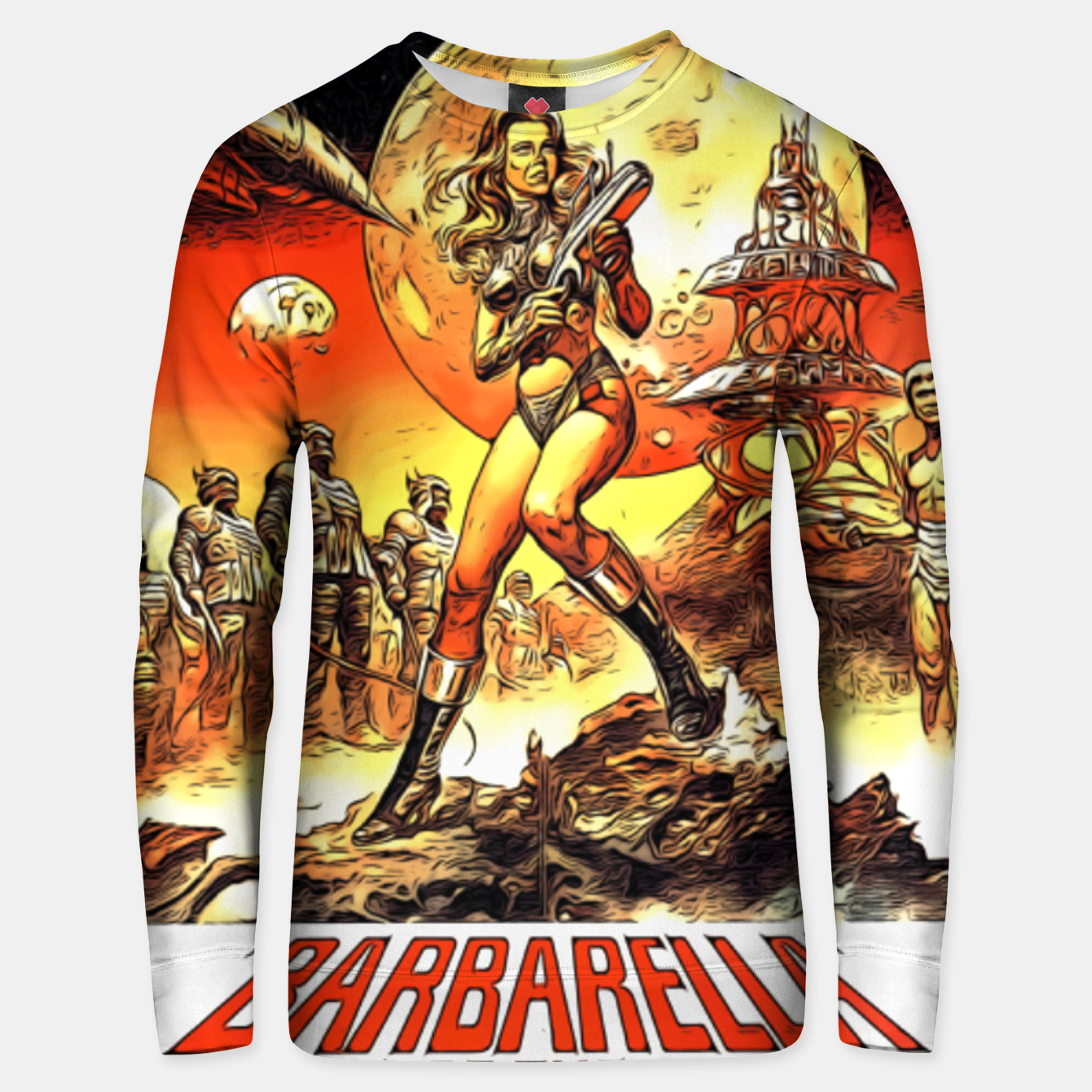 Image of Fashion art and decor items of Barbarella Sci-fi Movie Poster Unisex sweater - Live Heroes