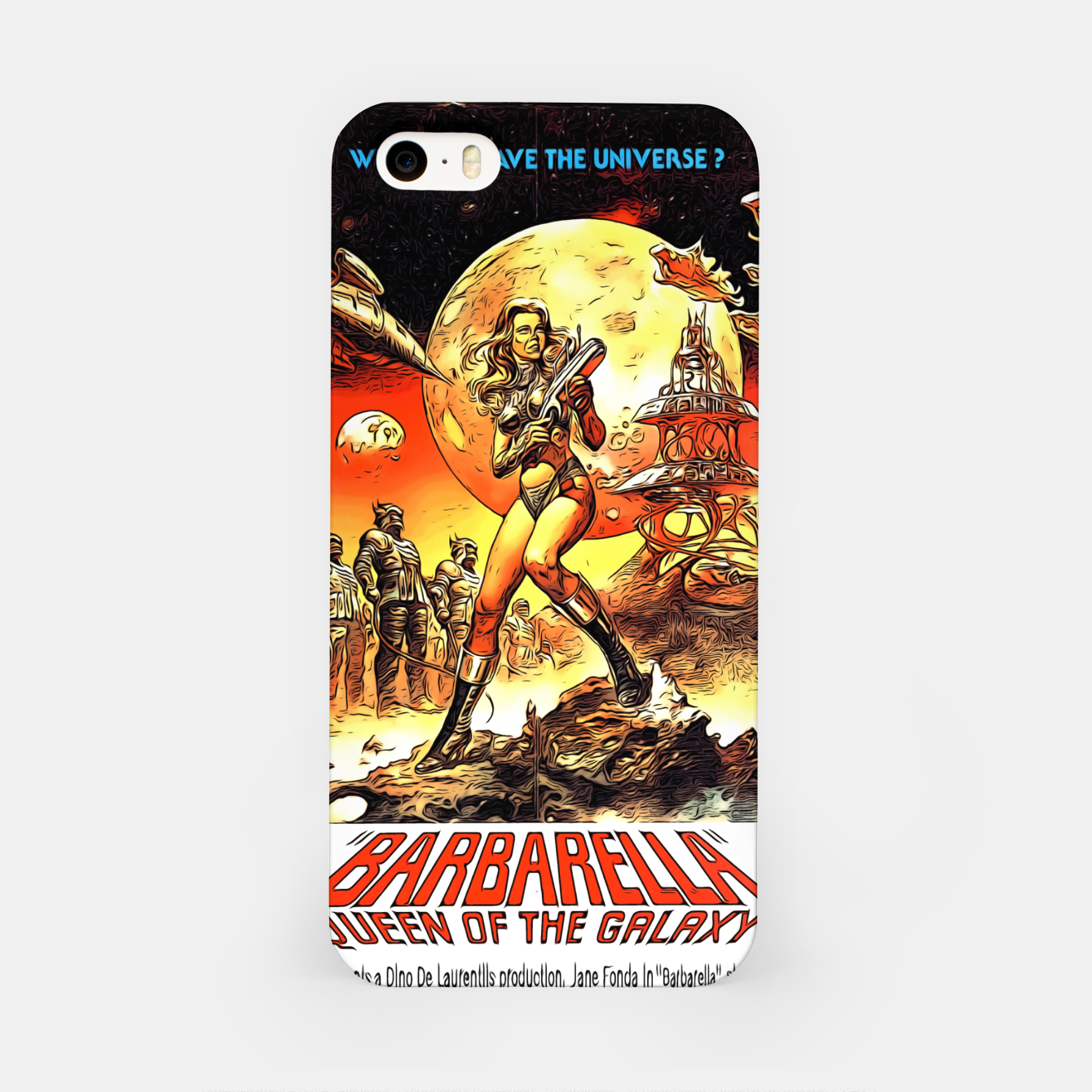 Image of Fashion art and decor items of Barbarella Sci-fi Movie Poster iPhone Case - Live Heroes