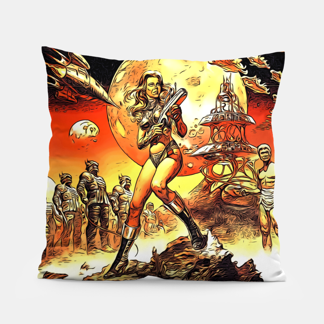 Image of Fashion art and decor items of Barbarella Sci-fi Movie Poster Pillow - Live Heroes