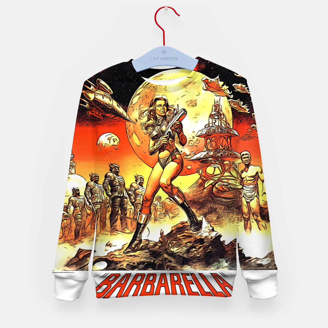 Image of Fashion art and decor items of Barbarella Sci-fi Movie Poster Kid's sweater - Live Heroes