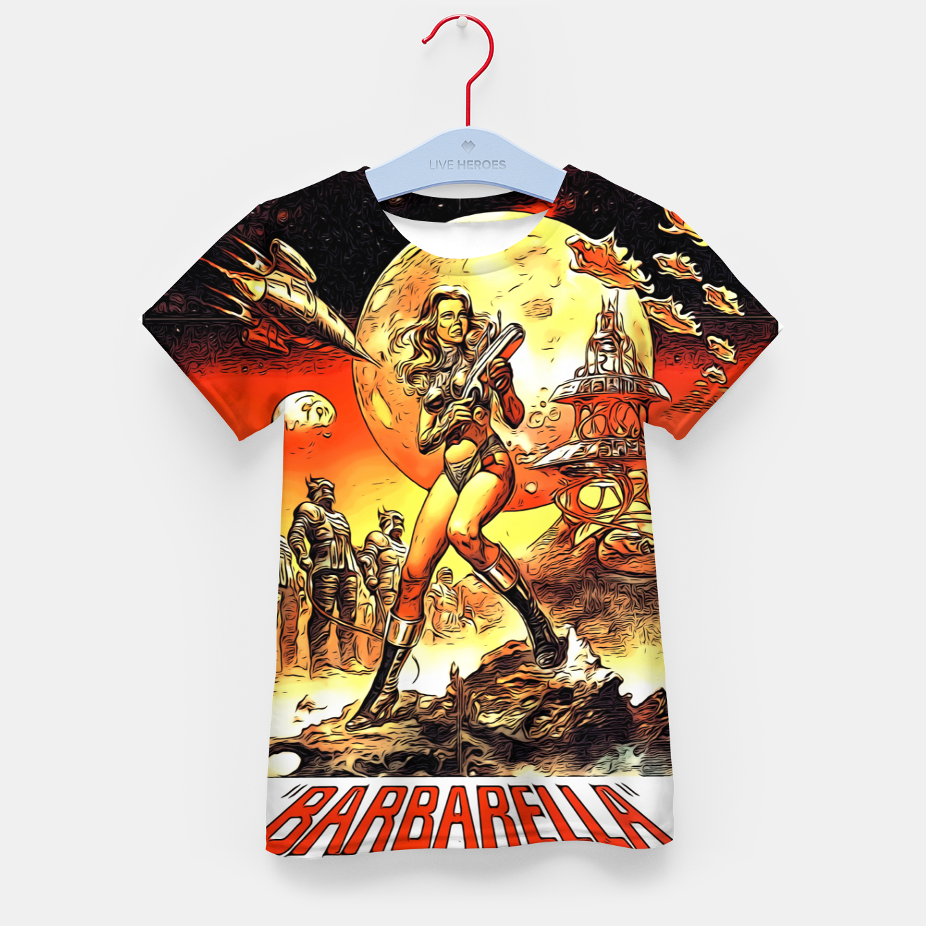 Image of Fashion art and decor items of Barbarella Sci-fi Movie Poster Kid's t-shirt - Live Heroes
