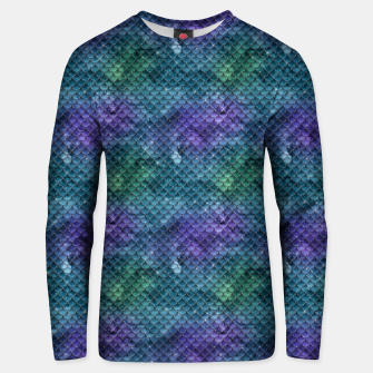 Miniatur Purple Aqua Green and Gold Glitter Mermaid Scales Unisex sweater, Live Heroes