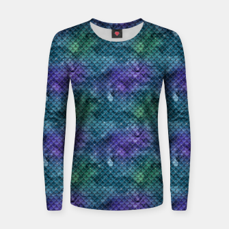 Purple Aqua Green and Gold Glitter Mermaid Scales Women sweater thumbnail image