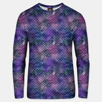 Pink Purple and Gold Glitter Mermaid Scales Unisex sweater imagen en miniatura