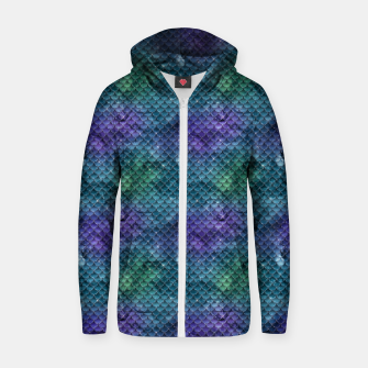 Purple Aqua Green and Gold Glitter Mermaid Scales Zip up hoodie thumbnail image
