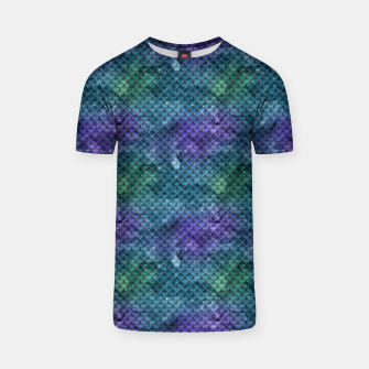 Purple Aqua Green and Gold Glitter Mermaid Scales T-shirt thumbnail image