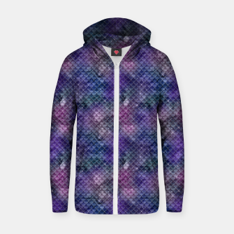 Pink Purple and Gold Glitter Mermaid Scales Zip up hoodie imagen en miniatura