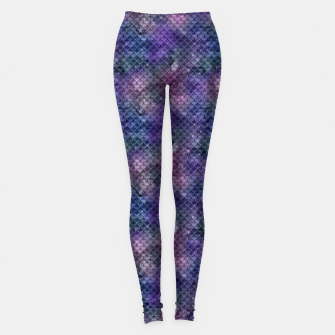 Pink Purple and Gold Glitter Mermaid Scales Leggings imagen en miniatura