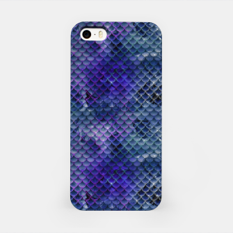 Miniatur Purple and Pale Blue Mermaid Glitter Scales iPhone Case, Live Heroes