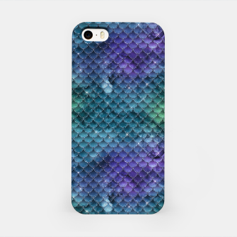Purple Aqua Green and Gold Glitter Mermaid Scales iPhone Case thumbnail image