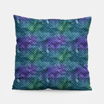 Purple Aqua Green and Gold Glitter Mermaid Scales Pillow thumbnail image