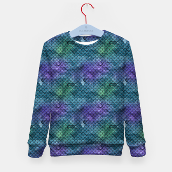 Purple Aqua Green and Gold Glitter Mermaid Scales Kid's sweater thumbnail image