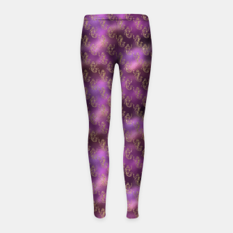 Miniatur Pink and Gold Glitter Mermaids Girl's leggings, Live Heroes