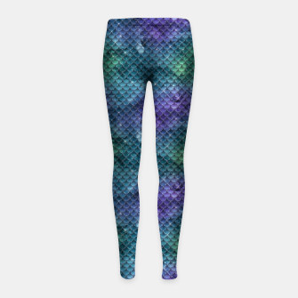 Purple Aqua Green and Gold Glitter Mermaid Scales Girl's leggings thumbnail image