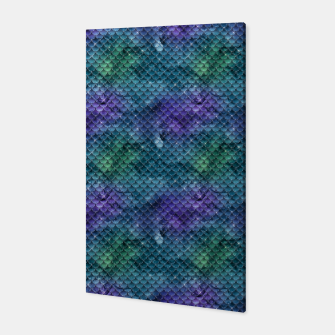 Purple Aqua Green and Gold Glitter Mermaid Scales Canvas thumbnail image