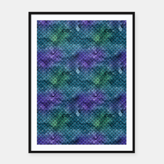 Purple Aqua Green and Gold Glitter Mermaid Scales Framed poster thumbnail image