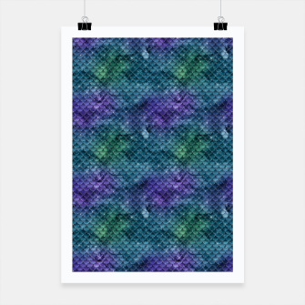Miniatur Purple Aqua Green and Gold Glitter Mermaid Scales Poster, Live Heroes