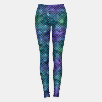 Imagen en miniatura de Purple Aqua Green and Gold Glitter Mermaid Scales Leggings, Live Heroes