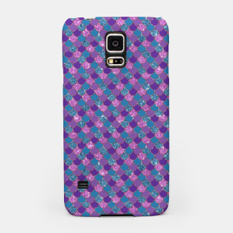 Purple Aqua and Gold Glitter Mermaid Scales Samsung Case imagen en miniatura